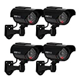 ERWEY Kamera Dummy Solarbetriebene Überwachungskamera Attrappe Fake Kamera Attrappe Dummy Kamera Attrappe Fake Überwachung Haus Sicherheit Security (Schwarz)