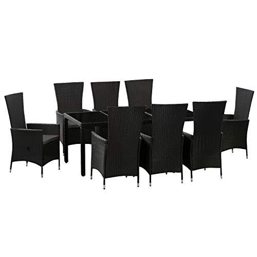 ArtLife Polyrattan Sitzgruppe Rimini Plus 9-teilig schwarz | Gartenmöbel Set mit Tisch, 8 Stühlen & Kissen | graue Bezüge | Rattan Balkonmöbel