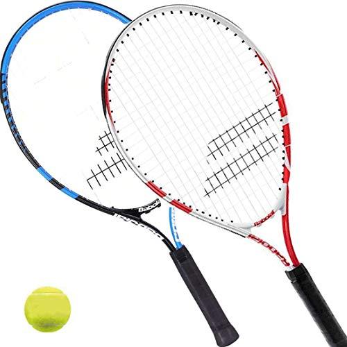 Babolat 2 x Comet 23 - Kinder Tennisschläger besaitet 58,5 m (1xblau + 1 x rot) + 1 Tennisball