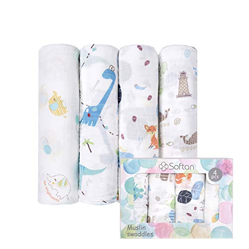 Softan Baby Musselin Swaddle Decke Tücher, Bambus Baumwolle Einschlagdecke,120 x 120 cm Receiving Decken