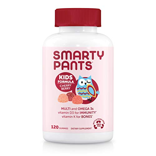 Daily Gummy Multivitamin Kids Cherry Berry: Vitamin C, D3, & Zinc for Immunity, Biotin, Omega 3 Fish Oil, Vitamin E, Iodine, Vitamin B6, Methyl B12 by SmartyPants 120 Count (30 Day Supply)