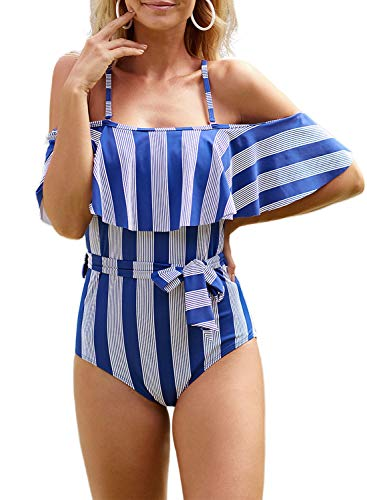 ROSKIKI Womens Flounce Off-Shoulder One-Piece Swimsuits : Vertical Stripes Swimwear Ruffles Beach Bathing Suit Blue S