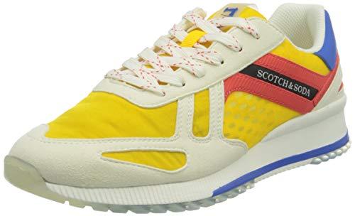 SCOTCH & SODA FOOTWEAR Vivex Sneaker, Zapatillas Hombre, Amarillo Multicolor, 43 EU
