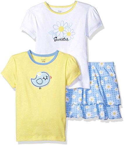 Gerber Girls' 3-Piece Shirt and Short Set, Bird, 3T