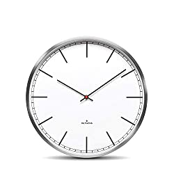 Huygens Silent Analog Wall Clock Round Battery Operated Quartz Movement One25 Stainless Steel White