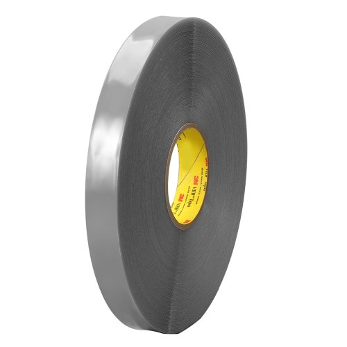 TapeCase 3M 4943F schuimrubberen tape voor lage temperaturen, 8,9 cm x 91,4 m, grijs, dubbelzijdig, conformerbaar bij lage temperatuur, 1,1 mm dik, 8,9 cm x 91,4 m rol