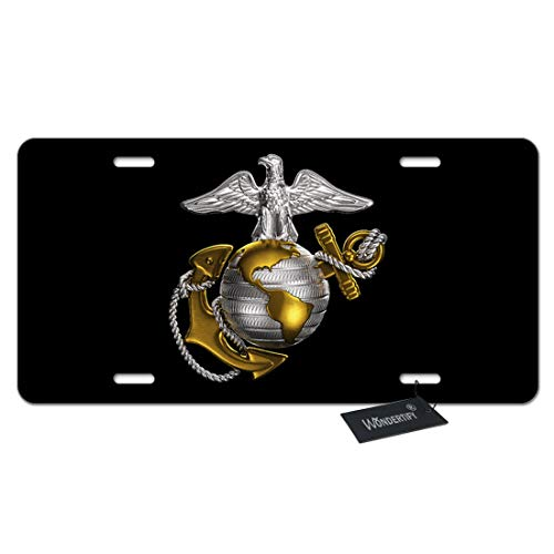WONDERTIFY License Plate Us Marine Corps Badge on Black Background Decorative Car Front License Plate,Vanity Tag,Metal Car Plate,Aluminum Novelty License Plate for Men/Women/Boy/Girls Car,6 X 12 Inch