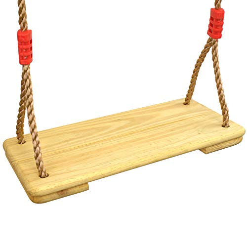 HAPPY PIE PLAY&ADVENTURE Nostalgic Children to Adult Wooden Hanging Swings Seat with 78 Height Adjustable Pp Rope Per Side (2pc Pinewood)