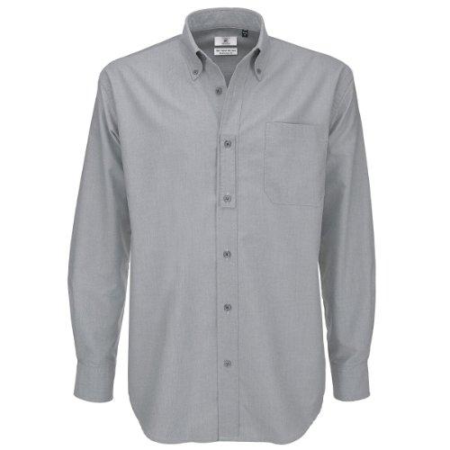 B&C - Camicia Oxford a maniche lunghe con bottoni sul colletto, da S (91,4/96,5 cm) a XXXL (120/125 cm)