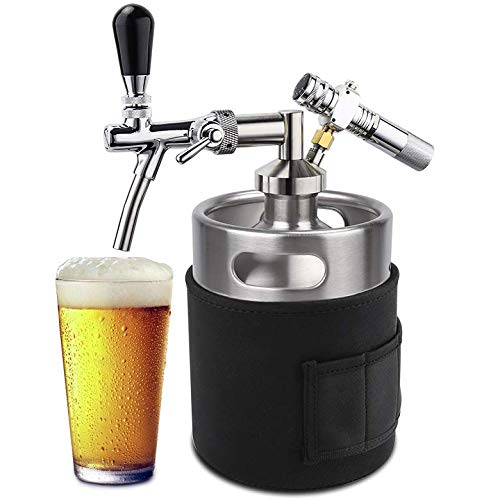 Premium Carbonated Growler for Beer   Revolutionary 64oz Mini Kegerator Keeps Your Beer Perfect   Pressurized Mini Keg System a Fresh Approach to Beer Uses 8g CO2 Cartridge (Not Included)   SuperH