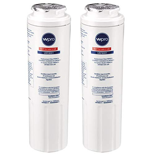 WPro UKF8001 Lot de 2 filtres à eau universels pour réfrigérateur et congélateur