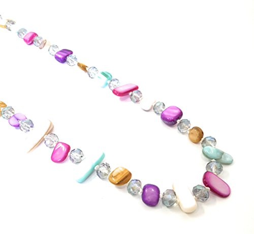 BRANDELIA Collares Largos de Colores Mujer Bisutería de Nácar y Perlas de Cristal, Tonos Pasteles