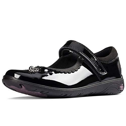 Clarks Girls Formal School Shoes Sea Shimmer T - Black Patent - UK Size 9.5E - EU Size 27.5 - US Size 10N