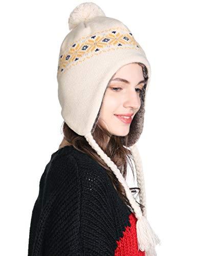 Winter Wool Peruvian Hat Women Pom Beanie Earflap Hats Ski Caps Fleece Lining Ivory One Size