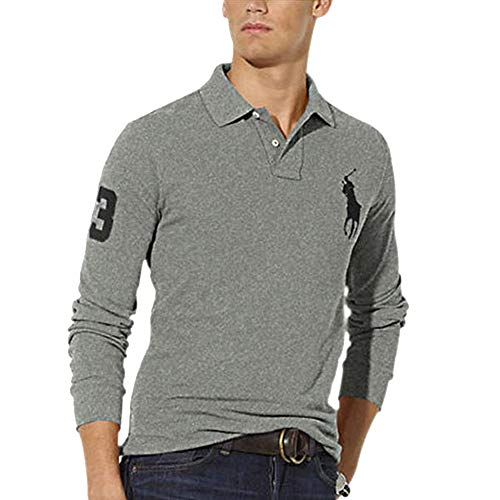 Ralph Lauren Langarm Poloshirt Big Pony Custom Fit (L, Grey Heather)