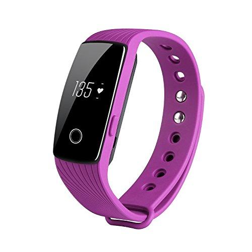 Qimaoo Pulsuhr Fitnessarmband Aktivitätstracker Uhrenarmband Fitness Tracker ID107 mit Herzfrequenzüberwachung und Blutetooth 4.0