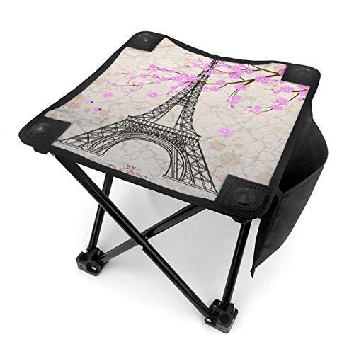 Nicokee Taburete plegable para acampada, diseño floral vintage de la Torre Eiffel de París con flores de cerezo, asiento portátil con bolsa de transporte para pesca, deportes al aire libre, senderismo, jardinería, picnic, playa, barbacoa