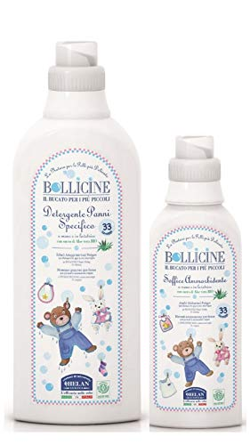 Bollicine Eco Organic Baby Clothes Laundry Liquid Detergent Concentrated Fabric Softener for Sensitive Skin, Concentrated 33 Washes, Dermatology Tested, Vegan Friendly, Natural Natural Baby and Me