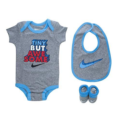 Nike Baby`s Bodysuit, Bib and Booties 3 Piece Set (Dark Grey Heather(LN0444-042), 0-6 Months)