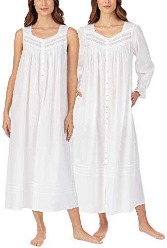 Eileen West Robe and Nightgown Set - Cotton Sleeveless Gown and Long Sleeve Robe in Damsel White (White, X-Large)