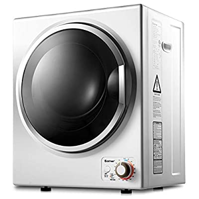 COSTWAY Compact Laundry Dryer, 110V Electric Portable Clothes Dryer with Stainless Steel Tub, Control Panel Downside Easy Control for 4 Automatic Drying Mode, White