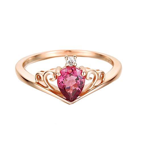AMDXD Anillo de Oro 18K de Mujer, Anillo Compromiso Corona Hueco Corazón Diseño 0.67ct Turmalina con 0.024ct Blanco Diamante, Oro Rosa, Tamaño 17 (Perímetro: 57mm)