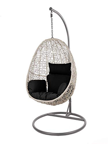 Kideo Swing Chair Indoor & Outdoor, Loungesessel Polyrattan, Hängestuhl, Hängesessel mit Gestell & Kissen (grau/schwarz)