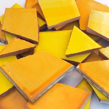 4 kg Bruchmosaik, Mosaikfliesen aus handgefertigten Fliesen - Mango-Gelb-Töne, Großmenge