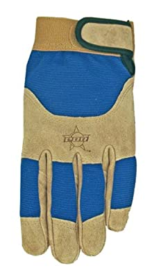 MidWest Gloves and Gear Suede Cowhide Leather Work Glove with Thinsulate Insulation, Brown/Blue