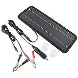 Cargador de batería de coche de panel solar de 18 V 4, 5 W, portátil, impermeable, cargador de batería y mantenedor para coche, barco, automoción, RV con encendedor de cigarrillos y pinza de cocodrilo