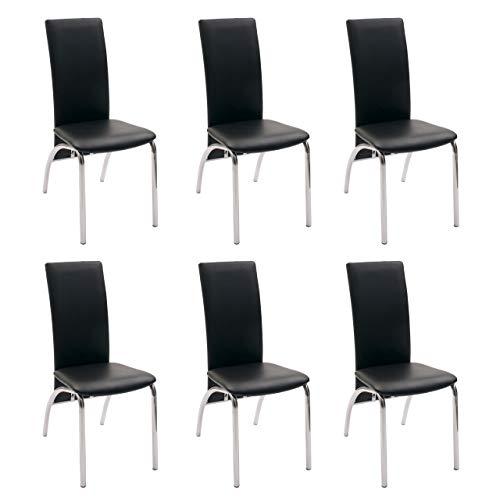 Pack de 6 sillas de Comedor Andros, tapizadas Polipiel y Patas cromadas (Negro)