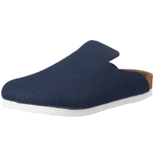 Birkenstock Davos 142201, Unisex - Erwachsene Clogs & Pantoletten aus Wolle, Blau (Dunkelblau), EU 46 (normal)