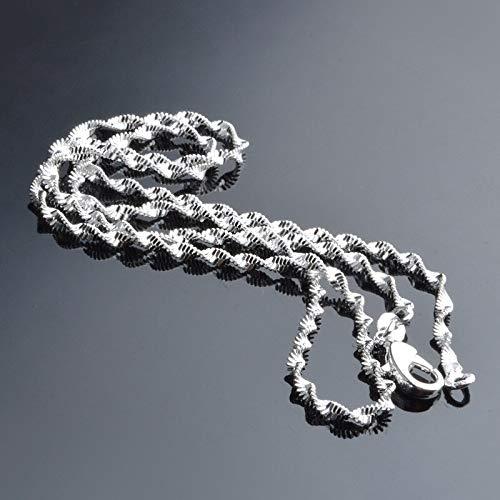 DOOLY Nuevo Collar de ondulación de Agua de 2 mm para Mujer, joyería de Moda 925, Collar de Plata esterlina con Cadena, Regalo al por Mayor