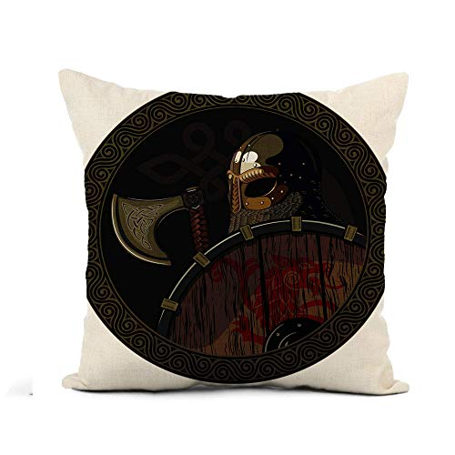 N\A Throw Pillow Cover Odin Warrior Barbarian Viking Berserker Axe and Shield White Pillowcase Home Decor Square Cotton Linen Pillow Case Cushion Cover