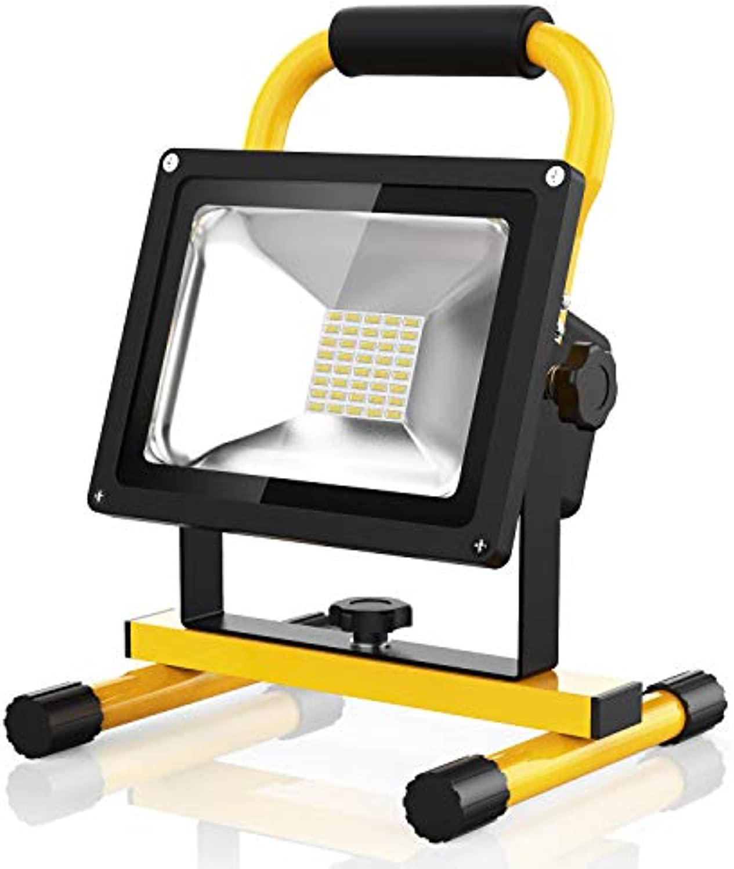 Profi LED Akku Strahler Lampe Baustrahler, 20W Akkulampe 1500 Lumen, 8 Stunden leuchten, 100% Helligkeit Garantie (20W kaltwei)
