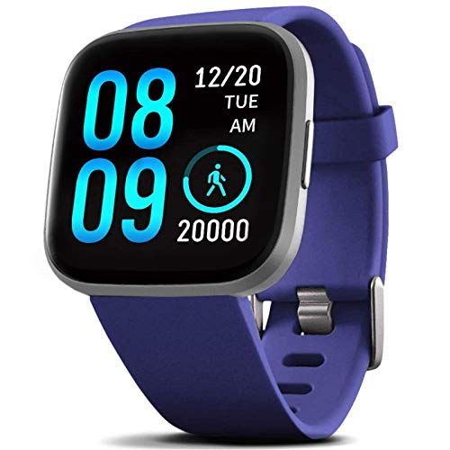 Fitvii Montre intelligente étanche IP68 avec moniteur de pression artérielle, moniteur de fréquence cardiaque, montre intelligente Bluetooth pour téléphone Android iOS, suivi du sommeil, compteur de calories, podomètre, chronomètre pour homme et femme bleu