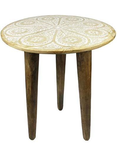 Saharashop Indischer Tisch aus Holz Nr. 4, Beistelltisch Couchtisch aus Holz massiv Oriental 38 cm | Modern Tisch aus Massivholz Natur/Weiß für Ihr Wohnzimmer