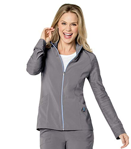 Landau Damen Quick Cool Full Zip Scrub Jacket with 4 Way Stretch Krankenhauskleidung, Oberteil, Stahl, 3X-Large