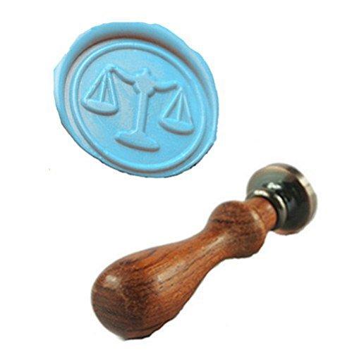 MDLG Vintage Weegschaal Balans Aangepaste Foto Logo Bruiloft Uitnodiging Wax Seal Sealing Stamp Rozenhout Handvat Set door MDLG