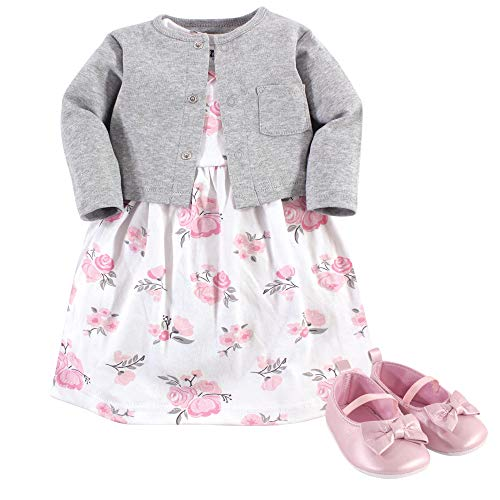 Hudson Baby Baby Girls Cotton Dress, Cardigan and Shoe Set, Pink Gray Floral, 3-6 Months