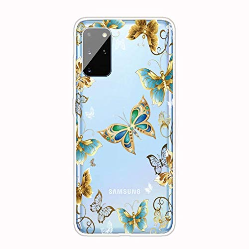Miagon Transparent Case for Samsung Galaxy S20 Plus,Gold Butterfly Pattern Creaive Funny Clear Soft Ultra-Thin Flexible Silicone Drop-Protection Fully Protective Cover Case