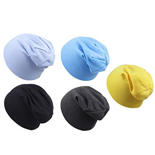 Vococal Echarpes et Bonnets,Bonnet bébé en Coton 5pcs Couleurs Assorties Doux Mignon bébé Coton Tricot Bonnet Chapeau Bonnet pour Les bébés bébés Filles