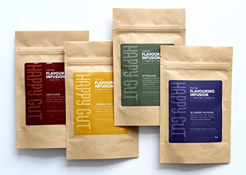 4 pack- Kombucha & Water Kefir Flavouring Infusions. Our one-of-A-kind product makes it easy to flavour your kombucha or kefir water. (Turmeric, Goji Clove, Afterglow, & Blueberry Blossom)