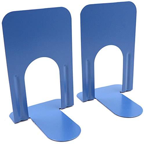Sujetalibros, sujetalibros, soporte para libros, CD y niños, metal, soporte para libros, soporte para estanterías, DVD invisible, soporte para libros, 1 par, color azul