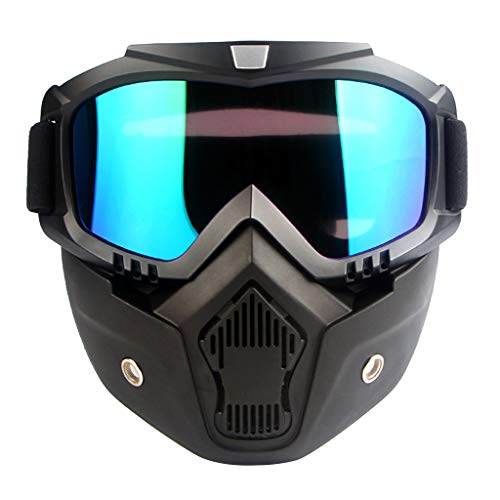 prasku Gafas de Moto con Máscara Desmontable para Montar en Moto de Nieve, Esquí, Ciclismo - Azul