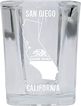 San Diego California Laser Etched Souvenir 2 Ounce Square Shot Glass State Flag Design