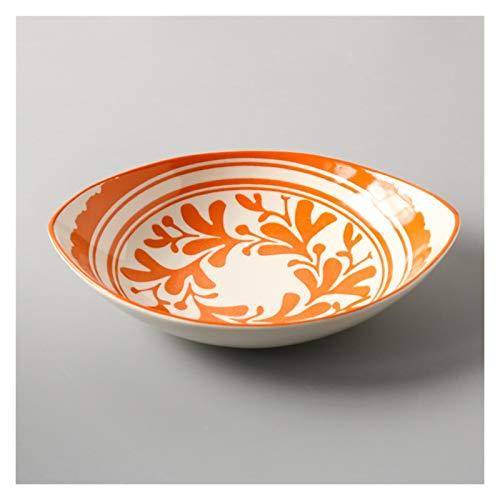 Juego Vajilla Placa de plato de plato de cerámica de estilo japonés Placa de cena de color de cena de color de cena de 8 pulgadas de 8 pulgadas Placa de arroz plato hondo de cerámica ( Color : A )