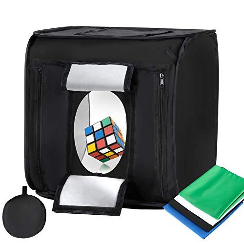 Konseen 撮影ボックス 撮影キット 60x60x60cm 折り畳み式 光度?整可能 144PCS LEDライト 撮影ブース 4枚背景布付き