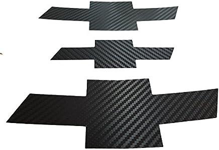 Grille Trunk Carbon Fiber Bowtie Emblem Wrap Kit 3PC & Free Gift Metal Sticker For 11