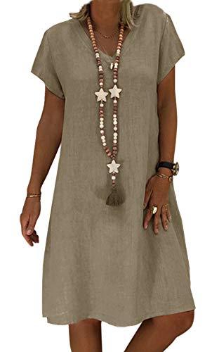 Yidarton Sommerkleid Leinen Kleider Damen V-Ausschnitt Strandkleider Einfarbig A-Linie Kleid Boho Knielang Kleid Ohne Zubehör(Farbe-1,XL)